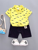 זול לבנים סטים של ביגוד לתינוקות-סט של בגדים כותנה שרוולים קצרים דפוס בסיסי בנים תִינוֹק / פעוטות