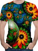 hesapli Erkek Tişörtleri ve Atletleri-Erkek Yuvarlak Yaka Tişört Desen, Çiçekli / Zıt Renkli / 3D AB / ABD Beden Yonca
