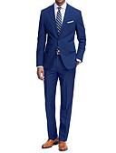 hesapli Takım Elbiseler-Siyah / Kırmızı Şarap / Navy Mavi Solid Dar Kalıp Polyester Takım elbise - Çentik Tek Sıra Düğmeli İki Düğme / Suit