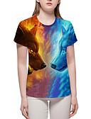 billige T-shirt-Dame - Farveblok / 3D / Dyr Trykt mønster Basale / overdrevet Plusstørrelser T-shirt Blå XL