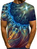 """זול טישרטים לגופיות לגברים-קולור בלוק / 3D / גראפי צווארון עגול סגנון רחוב / מוּגזָם מועדונים האיחוד האירופי / ארה""""ב גודל טישרט - בגדי ריקוד גברים דפוס כחול נייבי / שרוולים קצרים"""