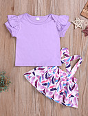 זול שמלות לתינוקות-סט של בגדים שרוולים קצרים אחיד / דפוס בנות תִינוֹק