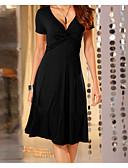 hesapli Kadın Elbiseleri-Kadın's Temel Kılıf Elbise - Solid, Fırfırlı V Yaka Midi