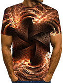 """זול טישרטים לגופיות לגברים-קולור בלוק / 3D / גראפי צווארון עגול סגנון רחוב / מוּגזָם מועדונים האיחוד האירופי / ארה""""ב גודל טישרט - בגדי ריקוד גברים דפוס חום / שרוולים קצרים"""