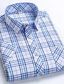 hesapli Erkek Gömlekleri-Erkek Pamuklu Gömlek Grafik Koyu Mavi / Kısa Kollu