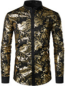 """זול חולצות לגברים-אחיד / גיאומטרי צווארון עומד(סיני) בוהו האיחוד האירופי / ארה""""ב גודל כותנה, חולצה - בגדי ריקוד גברים פאייטים זהב / שרוול ארוך"""