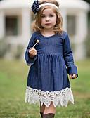 povoljno Haljinice za bebe-Djeca Djevojčice Color block Čipka Haljina Navy Plava