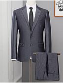 halpa Nahka-Miesten Pluskoko Suits, Yhtenäinen Paitapuserokaula-aukko Polyesteri Harmaa / Ohut