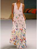 povoljno Poslovne haljine-Žene Veći konfekcijski brojevi Plaža Boho Slim A kroj Haljina Životinja V izrez Maxi