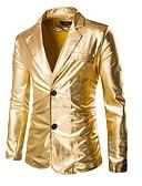 זול ז'קטים-זהב / שחור / כסף אחיד גזרה רגילה פוליאסטר חליפה - פתוח Single Breasted Two-button