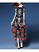 hesapli Print Dresses-Kadın's Çin Stili A Şekilli Elbise - Çiçekli, Desen Midi