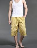 hesapli Erkek Pantolonları ve Şortları-Erkek Temel Şortlar Pantolon - Solid Sarı Tek Boyut