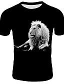 cheap Men's Tees & Tank Tops-Men's Casual Daily Wear Basic T-shirt - 3D / Animal Print Round Neck / Short Sleeve