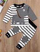 זול אוברולים טריים לתינוקות לבנים-סט של בגדים שרוול ארוך פסים / דפוס בנים תִינוֹק