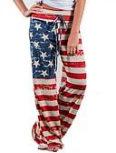 hesapli Kadın Pantolonl-Kadın's Temel Geniş Bacak Pantolon - Çizgili Amerikan bayrağı YAKUT L XL XXL