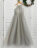 זול שמלות לילדות פרחים-גזרת A צווארון עגול קצר עד הריצפה טול שמלה לשושבינות הצעירות  עם סלסולים על ידי LAN TING BRIDE®