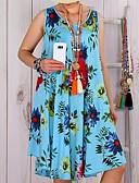 abordables Robes Grandes Tailles-Femme Basique Bohème Au dessus du genou Trapèze Robe - Mosaïque Imprimé, Fleur Blanc Marine Bleu clair XXXL XXXXL XXXXXL Sans Manches