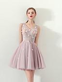preiswerte Abendkleider-A-Linie V-Wire Ausschnitt Kurz / Mini Tüll Cocktailparty Kleid mit Perlenstickerei / Applikationen durch LAN TING Express