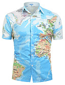 cheap Men's Shirts-Men's Daily Casual Basic Shirt - Graphic Print Blue L