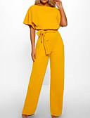 זול סרבלים ואוברולים לנשים-קיץ שרוולים קצרים XL XXL XXXL שרוך אחיד, סרבלים ישר כחול נייבי צהוב חאקי אלגנטית ליציאה בגדי ריקוד נשים