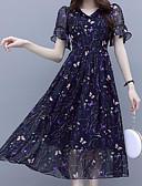 hesapli Print Dresses-Kadın's sofistike Zarif A Şekilli Elbise - Çiçekli, Desen Diz üstü