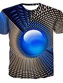 זול טישרטים לגופיות לגברים-גיאומטרי / 3D צווארון עגול מידות גדולות טישרט - בגדי ריקוד גברים פול / שרוולים קצרים