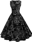 זול מלכת הוינטאג'-עד הברך דפוס, קולור בלוק - שמלה גזרת A סווינג בסיסי סגנון סיני בגדי ריקוד נשים