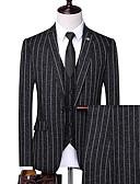 halpa Miesten bleiserit ja puvut-Miesten Suits, Raidoitettu Lovikäänne Polyesteri Beesi / Laivaston sininen / Harmaa US38 / US40 / US42