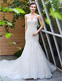 abordables Vestidos de Novia-Corte en A Escote Corazón Capilla Encaje / Tul Vestidos de novia hechos a medida con Cuentas por LAN TING BRIDE®