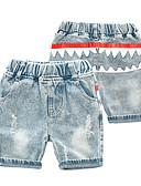 hesapli Erkek Çocuk Pantolonları-Çocuklar Genç Erkek Temel Punk ve Gotik Desen Zıt Renkli Şalter Delikli sökülmüş Pamuklu Kotlar Açık Mavi
