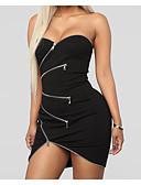 お買い得  レディースドレス-女性用 コットン シース ドレス ソリッド 膝上 ストラップレス