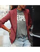 billige Blazere til damer-Dame Blazer, Ruter Skjortekrage Polyester Rød
