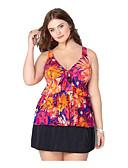 זול בגדי ים במידות גדולות-אודם XXL XXXL XXXXL דפוס פרחוני, בגדי ים טנקיני חצאית מותן גבוה אודם בסיסי בגדי ריקוד נשים