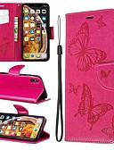 זול מגנים לאייפון-מארז iPhone XR / iPhone XS מקס מגנטי / להעיף / עם לעמוד גוף מלא מקרים פרפר / מוצק צבעוני קשה pu עור עבור iPhone 6 / 6s פלוס / 7/8 פלוס / xs / x