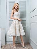 preiswerte Abendkleider-A-Linie Trägerlos Tee-Länge Spitze Kleid mit Stickerei durch LAN TING Express