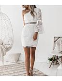 preiswerte Abendkleider-Damen Ausgehen Klub Anspruchsvoll Aufflackern-Hülsen- Hülle Kleid - Spitze, Solide Mini Ein-Schulter Weiß / Schulterfrei / Sexy / Skinny
