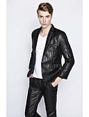זול חליפות-שחור / נייבי כהה / אפור בהיר פסים גזרה מחוייטת פוליאסטר חליפה - פתוח Single Breasted One-button