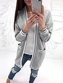 olcso Ing-Női Napi Alap Tavasz & Ősz Hosszú Kabát, Egyszínű Fekete-fehér V-alakú Hosszú ujj Poliészter Túlméretezett Fekete / Szürke / Bor