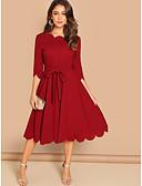 זול תחרה רומטנית-מידי קפלים טלאים, אחיד שבטי - שמלה שיפון בוהו מתוחכם בגדי ריקוד נשים