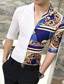 זול חולצות לגברים-גיאומטרי רזה בסיסי חולצה - בגדי ריקוד גברים לבן