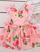 halpa Vauvojen mekot-Vauva Tyttöjen Aktiivinen Geometrinen Painettu Hihaton Polvipituinen Mekko Punastuvan vaaleanpunainen