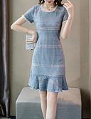 preiswerte Abendkleider-Damen Grundlegend Trompete / Meerjungfrau Kleid - Spitze, Solide Midi