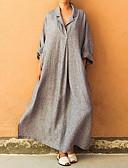 abordables Ropa árabe-Mujer Tallas Grandes Elegante Corte Ancho De Gran Tamaño Abaya Vestido Un Color Maxi Cuello Camisero