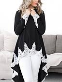 hesapli Kadın Elbiseleri-Kadın's Pamuklu Salaş - Tişört Dantel, Çizgili Temel Siyah