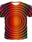 halpa Miesten t-paidat ja hihattomat paidat-Miesten Color Block Perus T-paita Sateenkaari US42