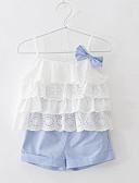 זול סטים של ביגוד לבנות-סט של בגדים כותנה ללא שרוולים דפוס פסים / אנימציה בוהו בנות ילדים / פעוטות