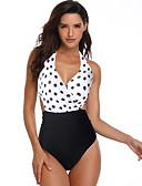 hesapli One-piece swimsuits-Kadın's Temel Beyaz Boyundan Bağlamalı Slip Külotlar Tek Parçalılar Mayolar - Yuvarlak Noktalı Desen XL XXL XXXL Beyaz