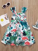 זול שמלות לבנות-שמלה עד הברך ללא שרוולים טלאים פסים / פרחוני / חיה פלמינגו מתוק / סגנון חמוד בנות ילדים / פעוטות / כותנה