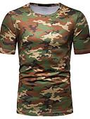 זול טישרטים לגופיות לגברים-להסוות צווארון עגול בסיסי / סגנון רחוב טישרט - בגדי ריקוד גברים דפוס ירוק צבא / שרוולים קצרים