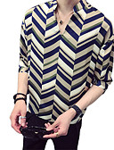 זול חולצות לגברים-פסים סגנון רחוב / אלגנטית חולצה - בגדי ריקוד גברים דפוס תלתן XL